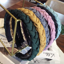 Fashion Women Solid Braided Twist Hairbands Elegant Plastic Headbands Simple Vintage Handmade Hair Turban Accessories