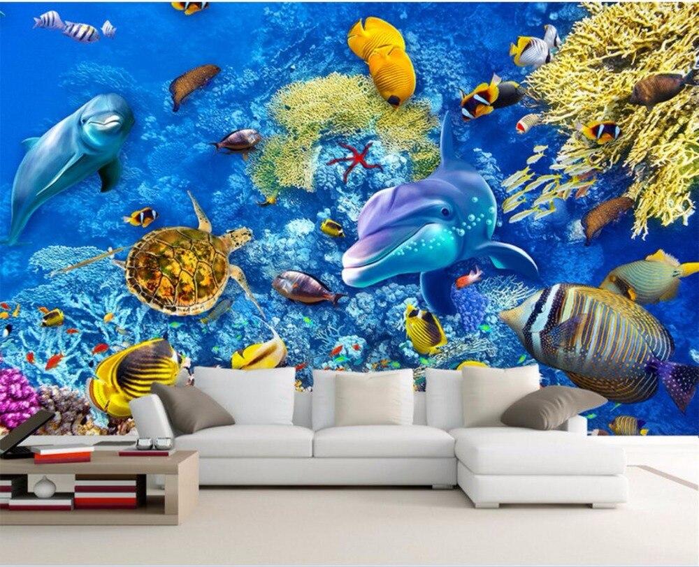 Custom Mural 3d Room Wallpaper Sea World Fish Wall Papers Home Decor Painting 3d Wall Murals Wallpaper For Walls 3 D