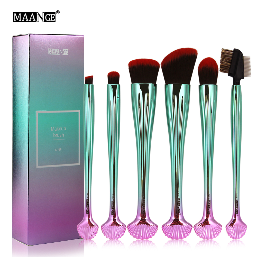 Pro 6PCS Shell Makeup Brushes Tool kits Cosmetics Eyeliner Blending Eyebrow Eyeshadow Lip Make Up Brush Fashion Color Brushes 8pcs makeup brushes cosmetics eyeshadow eyeliner brush kit 15 color concealer facial care camouflage makeup palette sponge puff