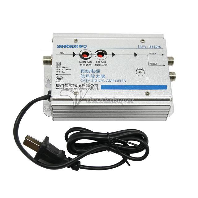 Seebest Cable TV Amplificador de Sinal Splitter Impulsionador CATV amplificador 2 Output 30DB SB-8830H2