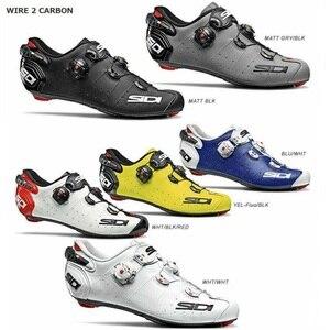 Image 1 - 2020 Sidi 와이어 2 도로 잠금 신발 신발 환기 탄소 도로 신발 사이클링 신발 자전거 신발
