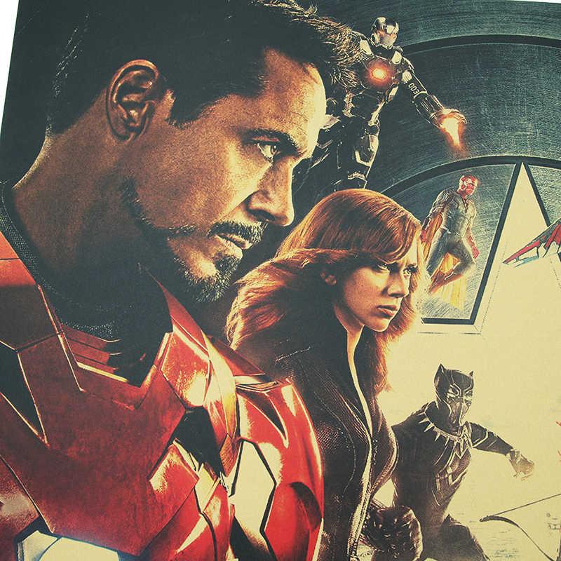 DLKKLB Marvel Vintage Captain America 3 Avengers Movie Poster Kraft Paper Poster Home Decor Painting Super Hero Wall Stickers