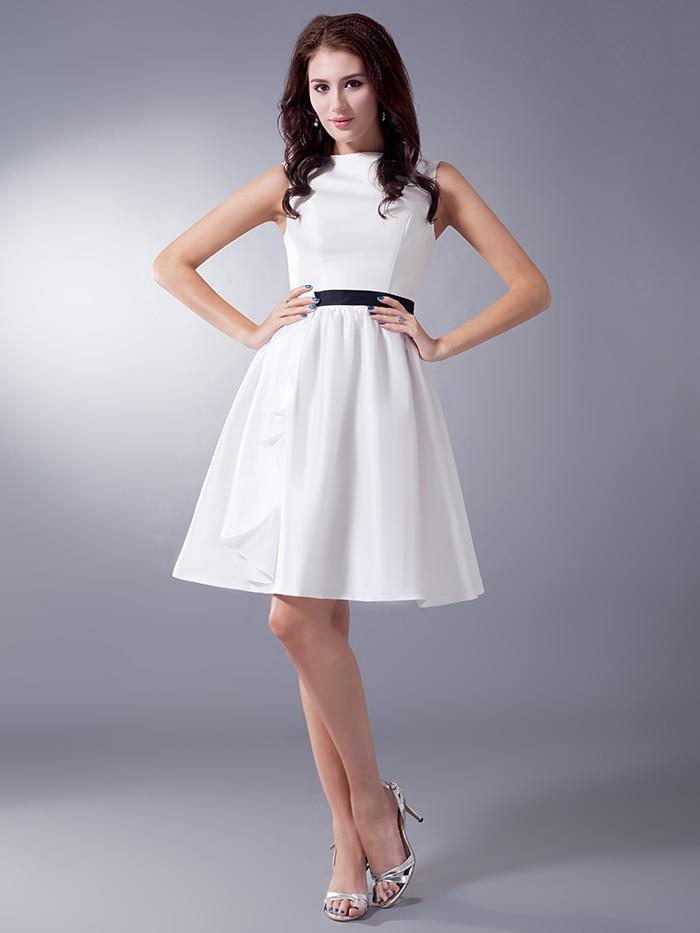 Cute Ivory Black Short Bridesmaid Dresses Sleeveless Cute A line ...