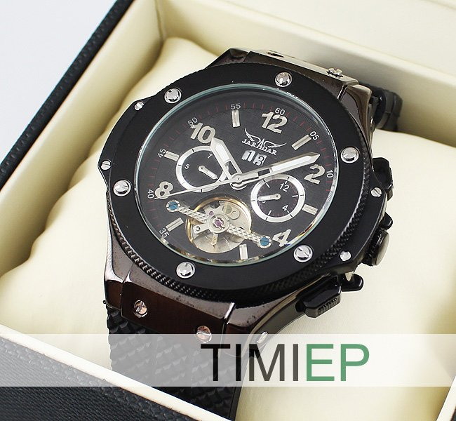 New! TOURBILLON Automatic Mechanical Luxury Black Silver Steel Men's Wrist Watch freeship цена и фото