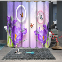 Butterfly and Blue Flowers Pattern Shower Curtains Bathroom Curtain Comfortable Thicken Waterproof Thickened Bath Curtain flowers blossom waterproof bath curtain