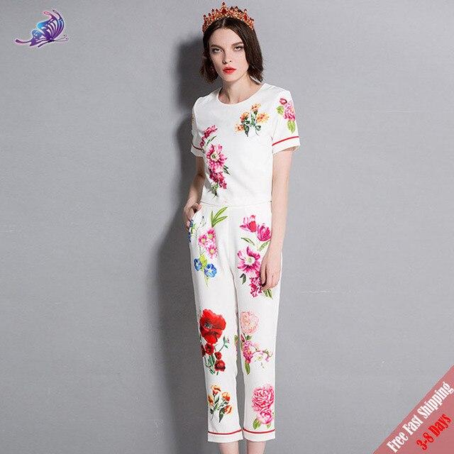 b193c5fcf146 New 2018 Fashion Runway Summer Suit Set Women s Elegant Flower Crystal  Beading Printed Short Tops+Long Pants Set Suit Free DHL