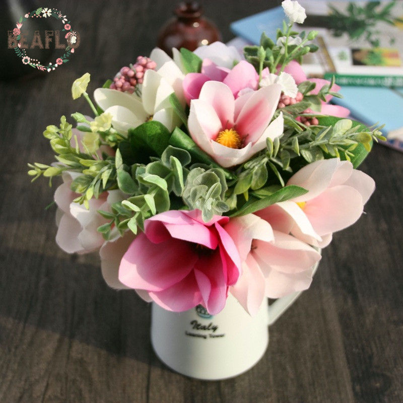 1Bunch 6 Heads Artificial Flower Plant Fake Magnolia Wedding Bouquet For Home Party Nytår Dekorative 2 farver