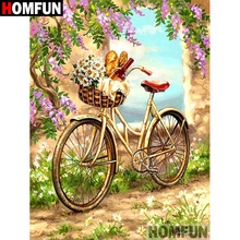 HOMFUN 5D DIY Diamond Painting Full Square/Round Drill Bicycle scenery Embroidery Cross Stitch gift Home Decor Gift A07913 homfun 5d diy diamond painting full square round drill lake scenery embroidery cross stitch gift home decor gift a09348