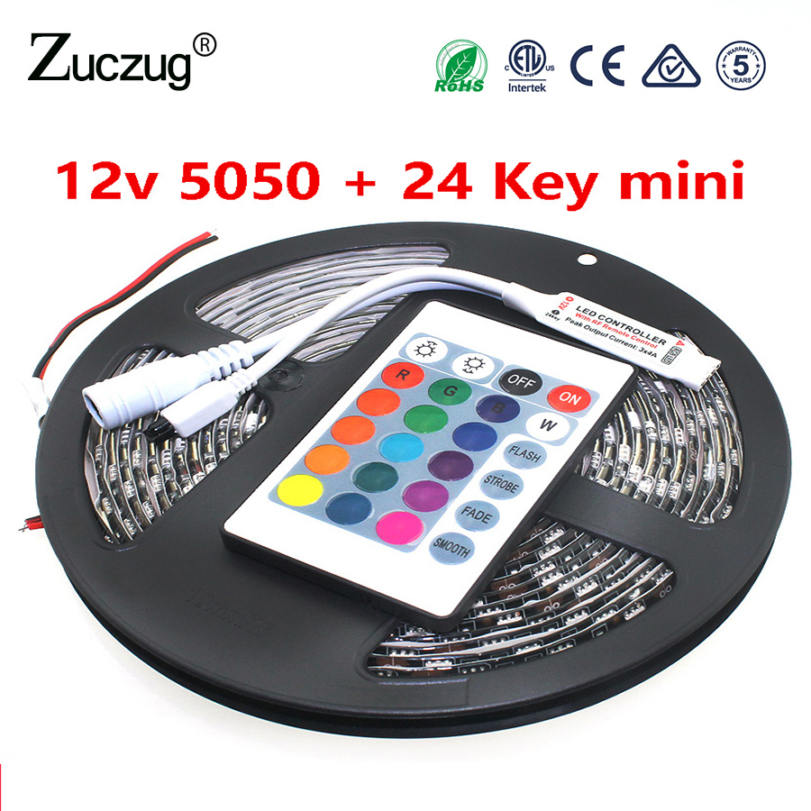 LED Strip 12V SMD 5050 RGB Zwart PCB Waterdicht 60 Leds / m LED Strip - LED-Verlichting