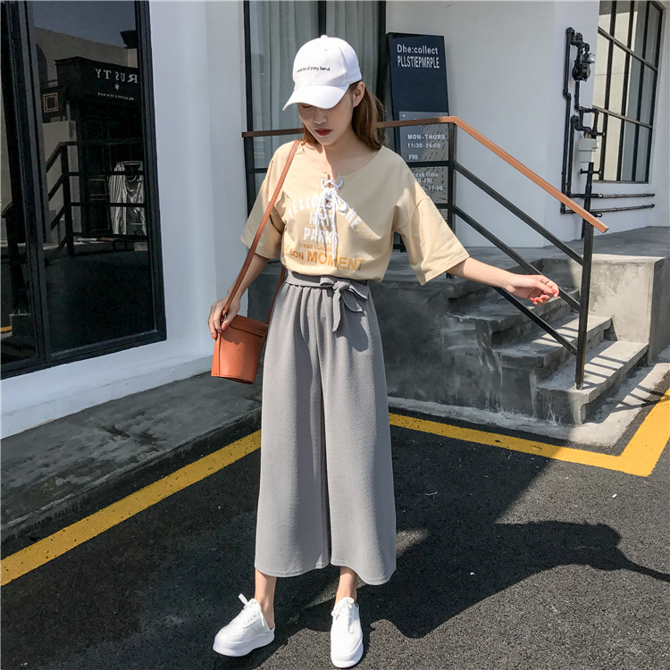 19 Women Casual Loose Wide Leg Pant Womens Elegant Fashion Preppy Style Trousers Female Pure Color Females New Palazzo Pants 40