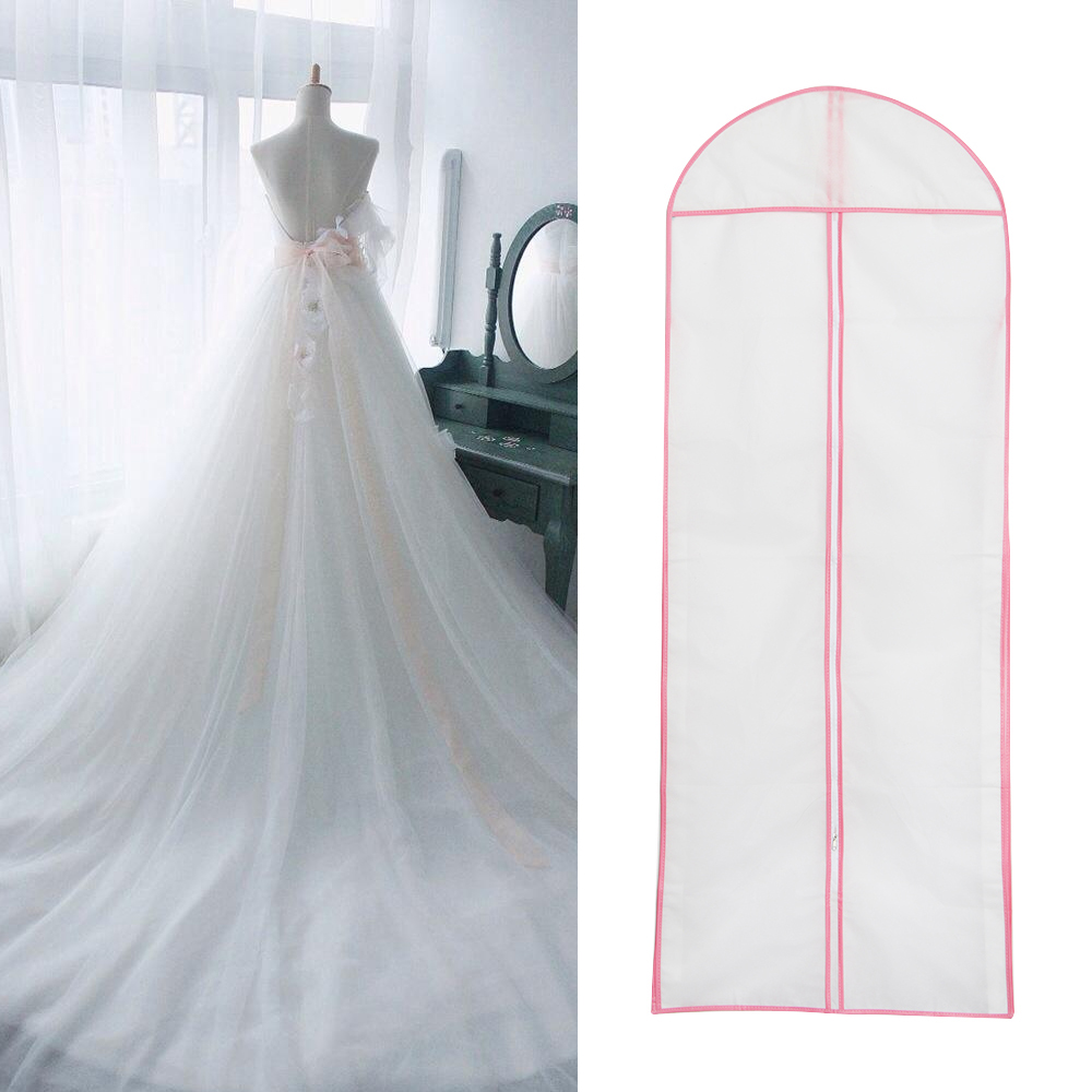 1PC HOT Useful 155cm Waterproof Wedding Dress Bridal Gown Garment Cover Fashion Storage Bag Carrier Zip Bag
