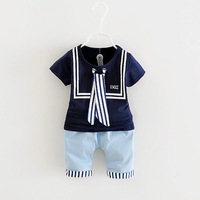 1 4Y Hot Summer Baby Clothes Set Sailor Style Baby Suit Cotton Baby Clothing Set Short