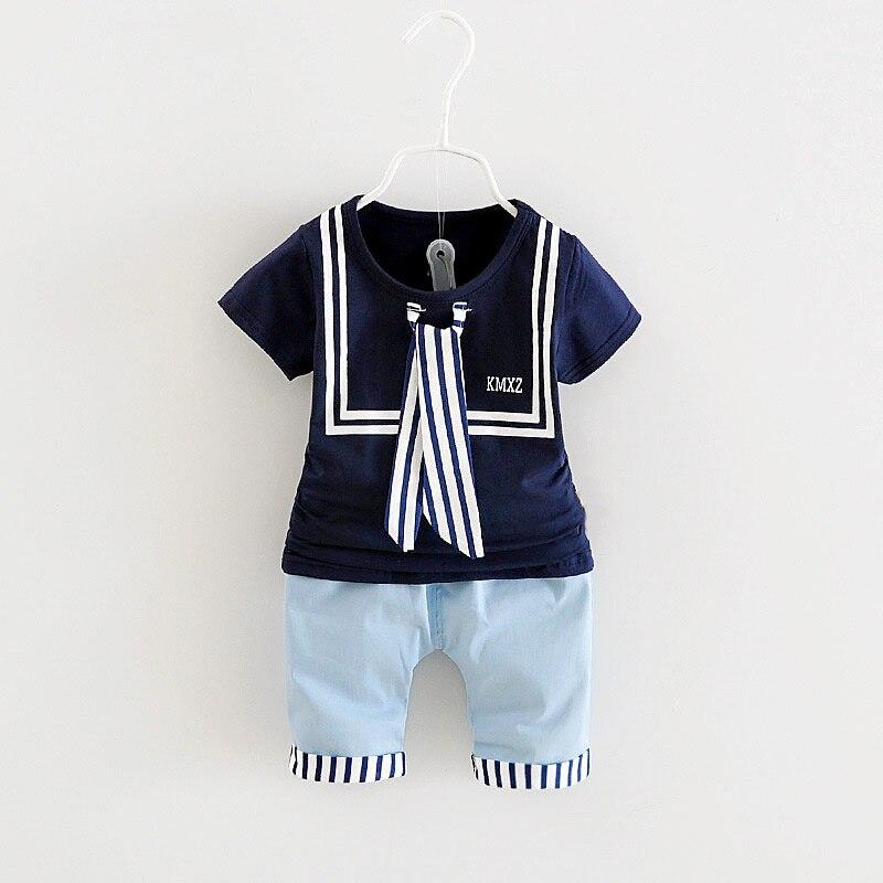 1-4Y Bebé Ropa de Verano Conjunto estilo Marinero Traje de Bebé De Algodón Calie