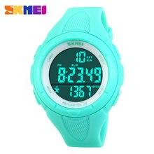 Skmei moda mujeres de la marca de relojes de los deportes 3d podómetro digital pantalla led reloj deportivo montre femme 50 m relojes de pulsera a prueba de agua