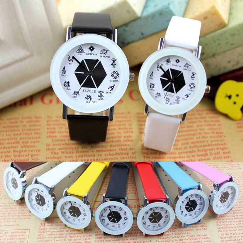 New Fashion EXO Women Men Casual PU Leather Casual Quartz Watches Role Quartz Wristwatches Lovers Couple