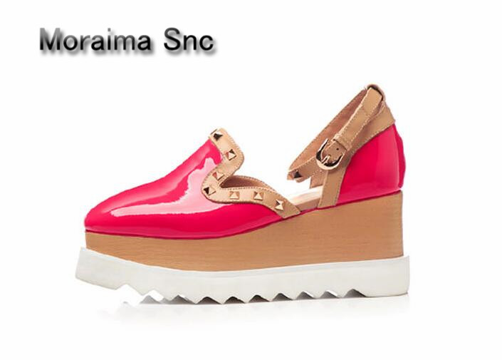 Moraima Snc brand gladiator sandals women wedges shoes summer cut-out sneakers shoes rivet mixed colors high heels shoes women moraima snc brand sneakers female summer black pink sexy cut out zapatillas mujer casual metal round toe height increasing shoes