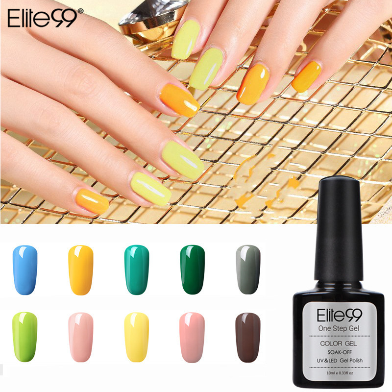 Elite99 3 i 1 UV Gel Soak Off UV Ett steg Nail Gel Polish 10ml No Need Top Base Coat För Naglar Art Varnish Semi-permanent Gel