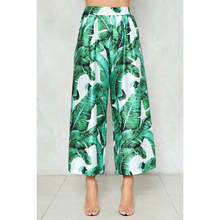 Customize Women s Casual Retro Vintage Runway Fashion Green Leaf Print Wide  Leg Pants Loose Ankle- 7321d4799db5