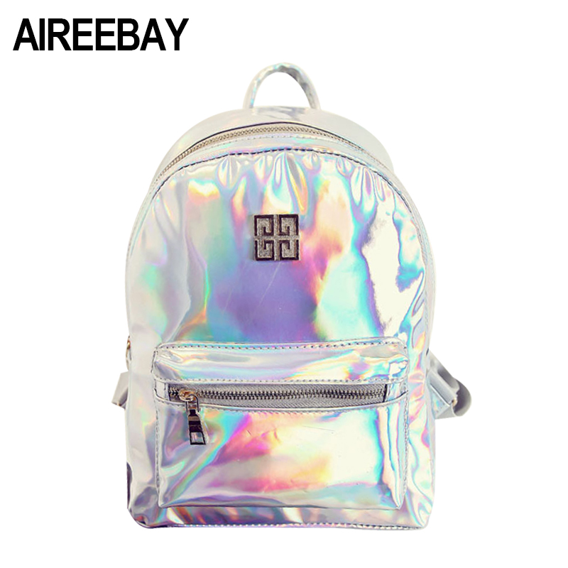 AIREEBAY 2018 New Arrival Women Hologram Laser Backpack Fashion Casual Backpacks Holographic School Bag For Teenagers Girls