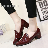 Fashion PU Material Women Dress Shoes Pointed Toe Western Style Simple High Quality Material Basic Style