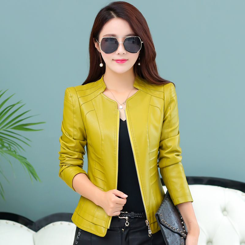 2018 Real   Leather   Jacket Women Jaqueta De Couro Feminino 018 New   Leather   Coat Women Slim Motorcycle Clothing Female Outerwear