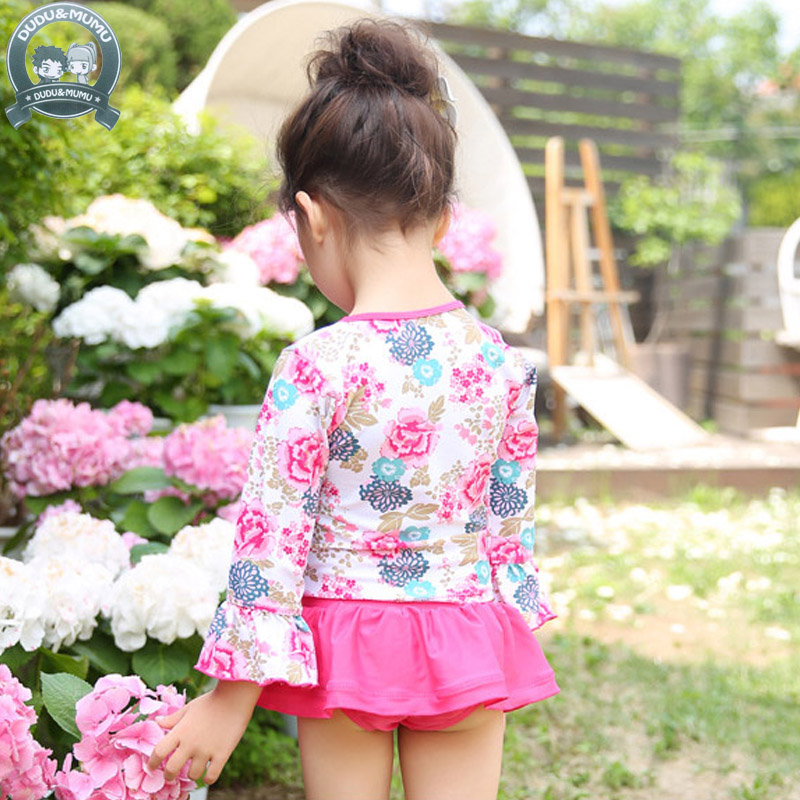 2017 Baby girls swimsuit children floral Swimwear Summer Beach Bathing Suit Two Pieces Children Tankini Kids Girl Swimsuit 325