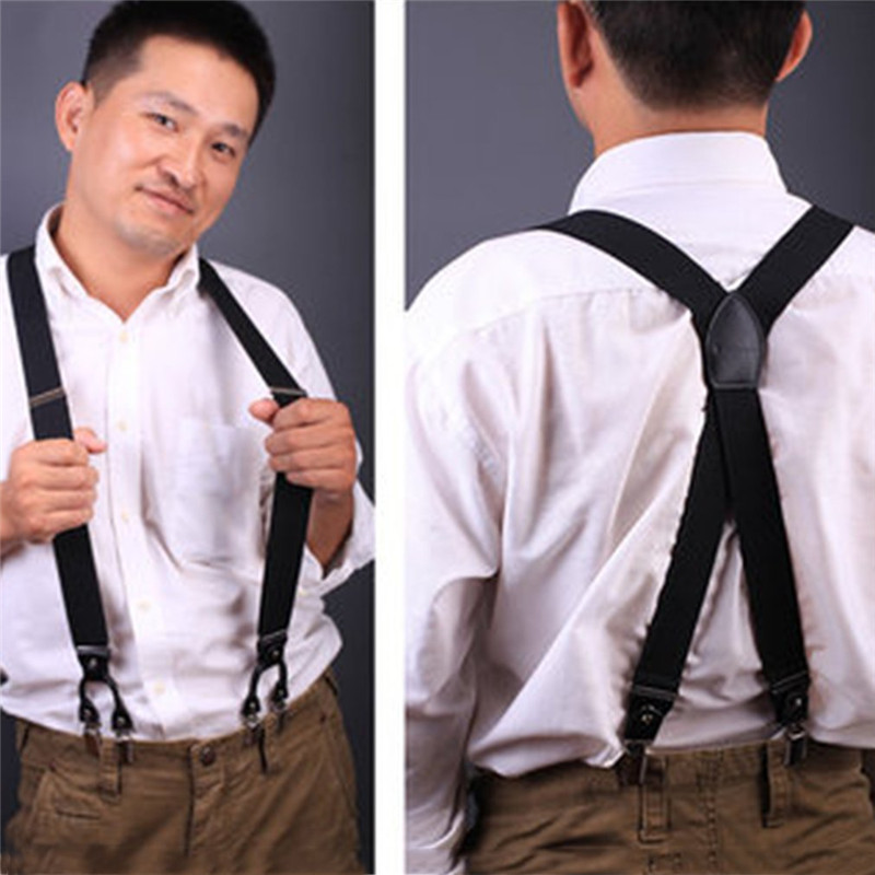 New Fashion Leather 6 Clips Suspender Male Vintage Casual Suspenders Commercial Western-style Trousers Mans Braces Strap