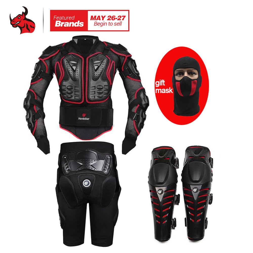 HEROBIKER Motorcycle Armor Moto Body Armor Motocross Armor Motorcycle Jackets+ Gears Short Pants+Protective Motocycle Knee Pad herobiker back support armor removable