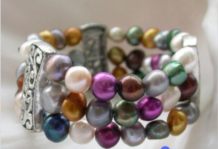 """4row 7.5/"""" 8-9mm gray baroque freshwater cultured pearl bracelet"""