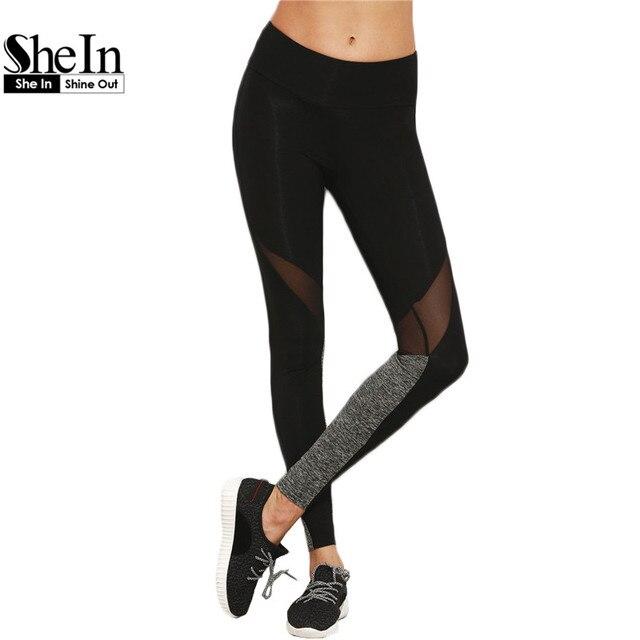 SheIn Ocasional Das Mulheres Leggings de Fitness Inverno Leggings Chegada Nova Ladies Simples Bloco de Cor Cintura Elástica Malha Insert Leggings