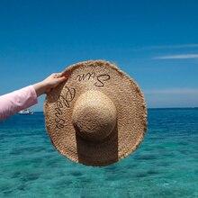 2019 春夏大型ワイドつばラフィアわら帽子手紙ビーチキャップ太陽保護ビッグラフィアわら帽子 A1