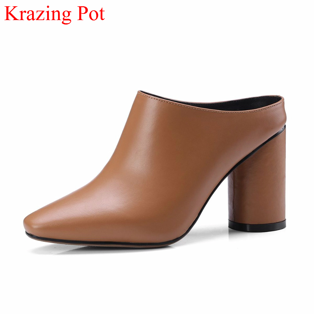 2018 Genuine Leather Slingback Mules Brand Summer Shoes Square Toe High Heels Women Pumps High Street Handmade Causal Shoes L4f1