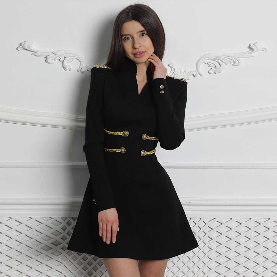 Женское короткое бандажное платье ADYCE, черное платье с длинным рукавом и круглым вырезом, в стиле звезд, для клуба и вечеринки, для зима, 2019
