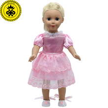 цены American Girl Doll Accessories Red Lace Dress Princess Skirt Doll Clothes With Shoes Free for 16-18 inch Dolls 4 Colors MG-262
