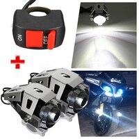 Mayitr 2PCS Motorcycle U5 LED Headlight 125W 3000LM Spot Waterproof Driving Fog Light White Lamp Pit