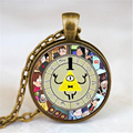 Steampunk Drama Gravity Falls Mysteries BILL CIPHER WHEEL Pendant Necklace Fashion Glass Men Handmade Necklace 2016