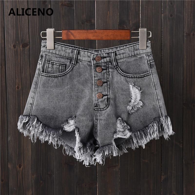 ALICENO NEW 2019 Summer Tassel Women Denim Hole   Shorts   High Waist Leg-open Sexy Jeans   Short   Plus Size S-6XL 5Colors Summer