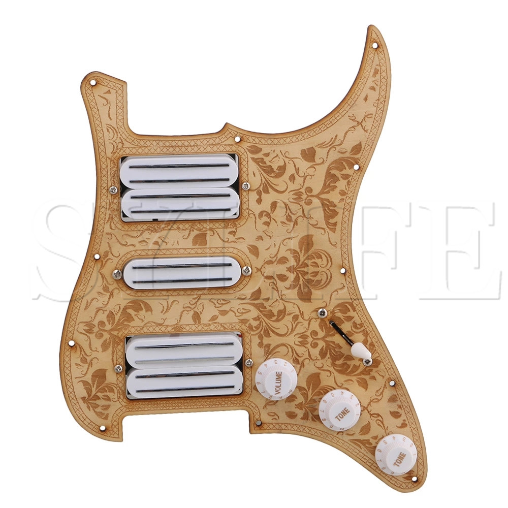 Maple Bauhinia Pattern 11 Holes HSH Pickguard Set for Electric Guitar