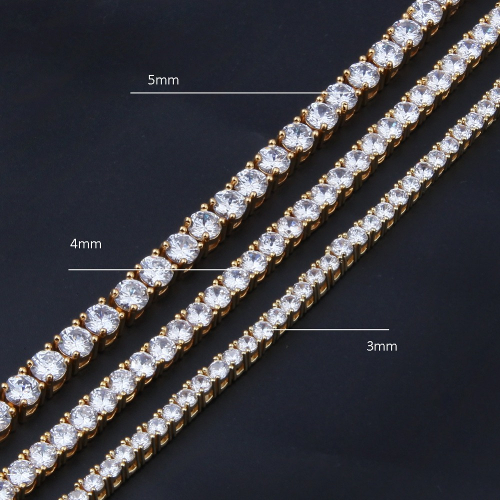 3 4 5mm wide Hip Hop Bling Iced Out Tennis Chain Necklace Gold Silver 1 Row