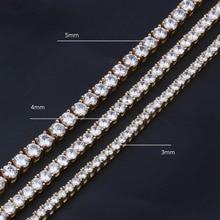 3/4/5 мм широкий хип-хоп Bling льдом теннис цепи Цепочки и ожерелья цвета: золотистый, серебристый 1 ряд камень CZ Чокеры Цепочки и ожерелья s Для мужчин ювелирные изделия 18 «-24»
