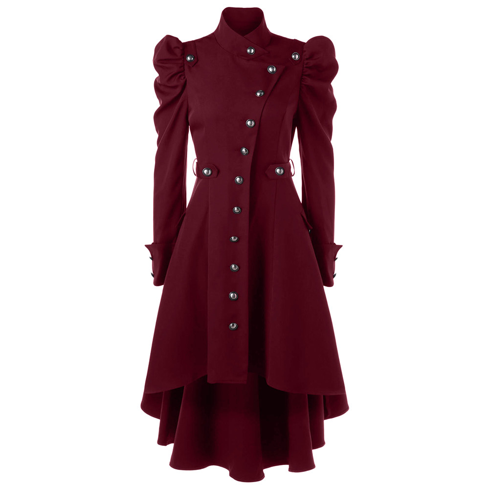 Female Jacket Wool Coat Womens Vintage Steampunk Long Coat Gothic Overcoat Ladies Retro Jacket Autumn Winter Long Jacket Manteau