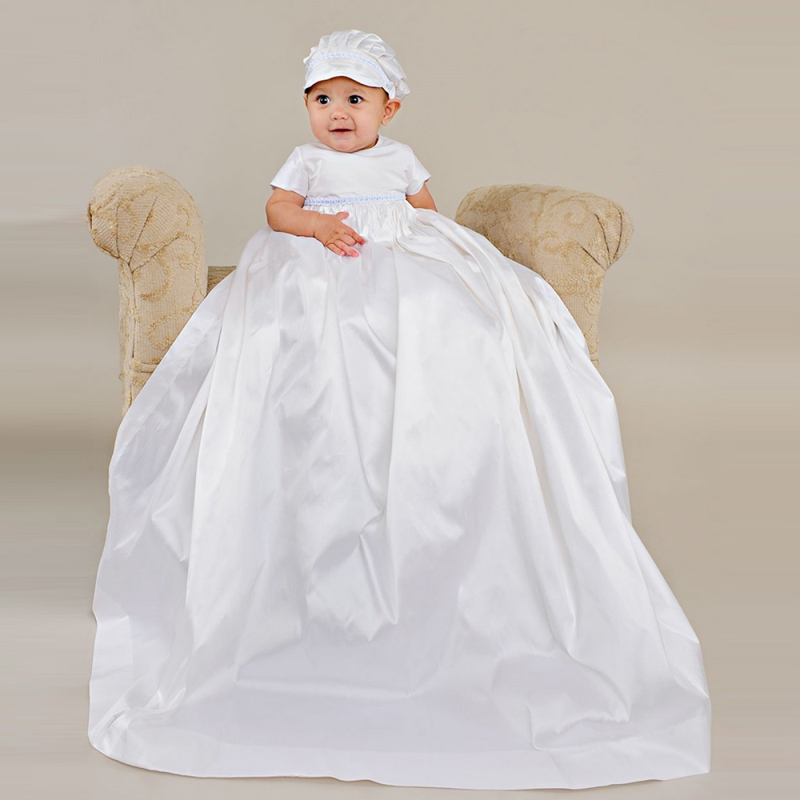 Without Hat Heirloom-style Stuning Empire Waistline Short Sleeves Baby Boy Long Silk Satin Waistline Baptism Christening Gowns with hat baby christening dress empire waistline short sleeves lace appliques ruffled baby girl baptism birthday gowns hot sale