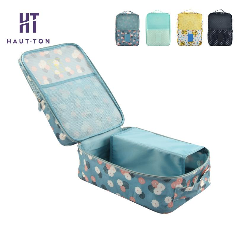 Korean Style Waterproof Floral Shoes Storage Bag Portable Double Layer Sorting Bag Home Organization