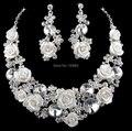 Aretes collar nupcial conjunto Austriaco dismond material de Porcelana accesorios de sistemas de la joyería de plata para el vestido de Fiesta de Noche de la boda