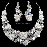 Austrian Crystal Rhinestone Shell Porcelain Material Wedding Evening Silver Party Necklace Earrings Set Bride S Free