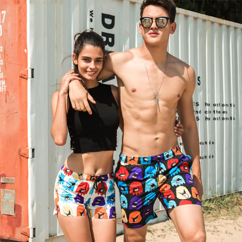 dba35a7313 beach honeymoon vacation couples swimwear men swimsuit sunga trend cartoon  print women men swim trunk boxer short leisure brief-in Body Suits from  Sports ...