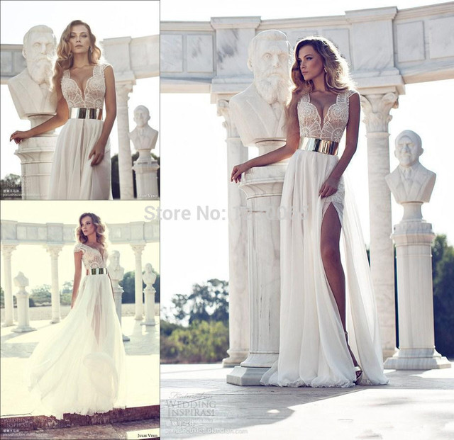 2016 new Fashion Crystal Beaded Wedding Dresses gold sashes Deep V-Neck Cap  Sleeves A-Line Side Slit White Chiffon Bridal Gowns b9b53c691834