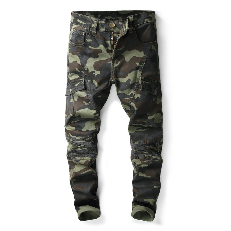 Mens Camo Biker Jeans Military Style Cargo Tactical Motorcycle Denim Trousers Man Camouflage Pants With Multi Pockets