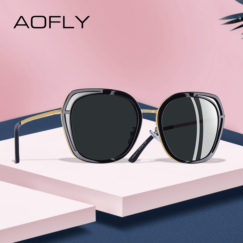 AOFLY BRAND DESIGN Luxury Sunglasses Women Vintage Women Polarized Sunglasses 2019 Square Frame Gradient Lens Shades UV400 A109