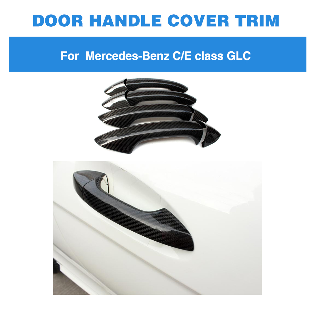 For <font><b>Mercedes</b></font>-Benz C S E Class W204 C204 W205 C205 W207 W213 W218 All Cars Not for G class Carbon Fiber <font><b>Door</b></font> <font><b>Handle</b></font> Cover Trim image